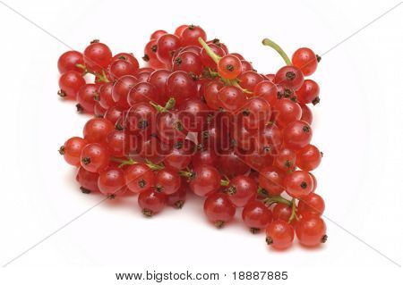 fresh redcurrant on white background