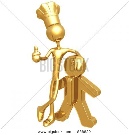 Golden Chef Baker With Cookie Cutter Man