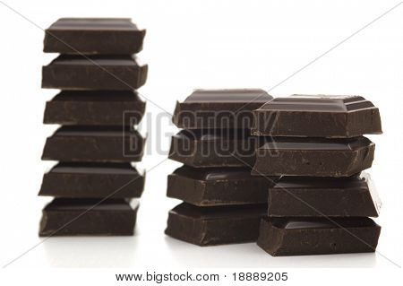 black bitter chocolate on white background 3