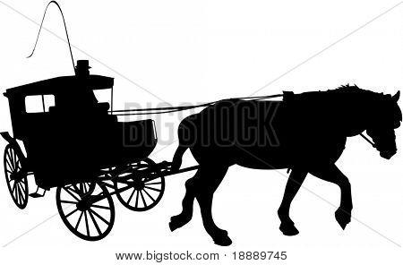 Vektor-Bild der Kutsche mit Kutscher