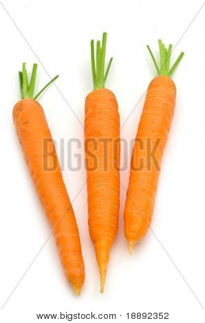 three carrots on white background