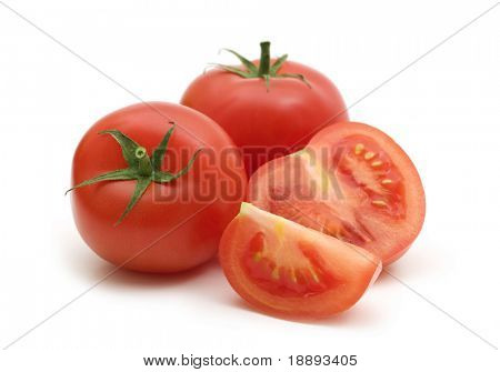 slice fresh tomatoes on white background