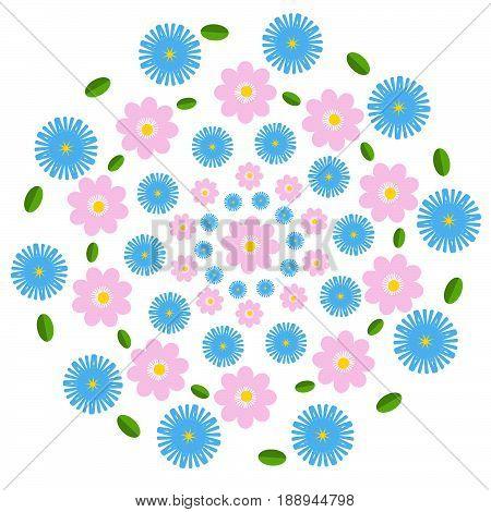 Flat design flowers background on white background