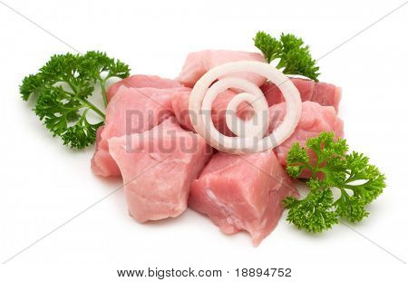 raw pork filet on white background
