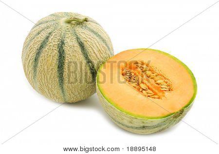 orange cantaloupe melon on white background