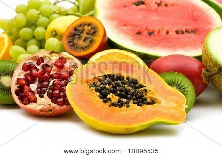fresh exotic fruits on white background