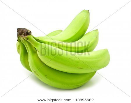 green banana on white background