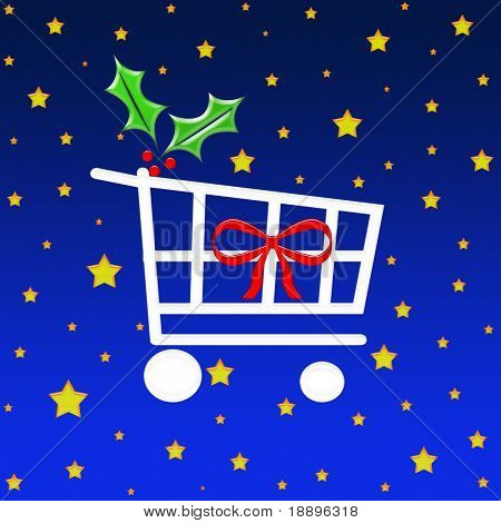 Christmas gift shopping cart