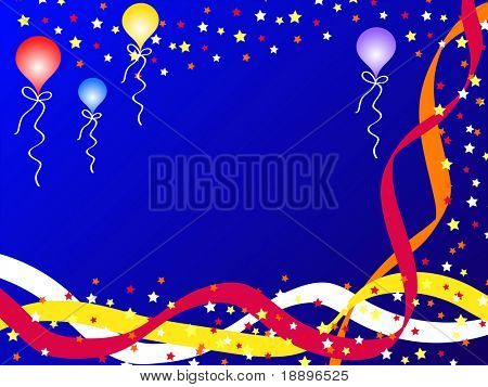 Colorful balloons, ribbons and stars