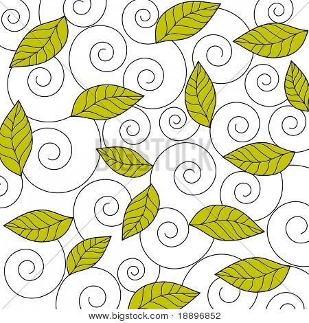 Artistic spirals and green leaves design