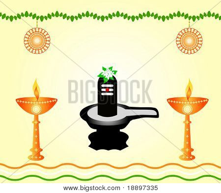 The Indian God Shivalinga with lit lamps.