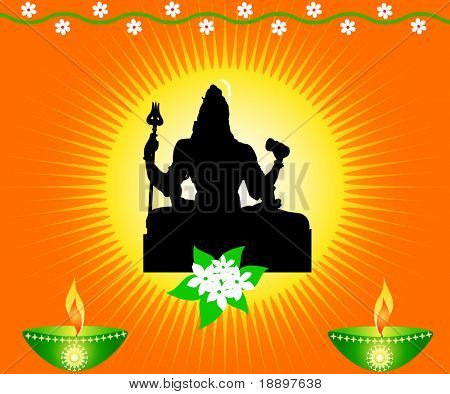 Indian god Shiva with lamps and flowers