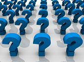 picture of question-mark  - Blue rendered question marks in 3D - JPG