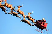 stock photo of santa sleigh  - Santa Claus and deers - JPG