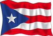 Waving flag of Puerto-Rico isolated on white