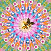 image of woodstock  - digitally created peace mandala in the tradition of flower power - JPG