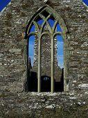 Ruined Church Ancient Church Historical Monument Through A Church Window poster