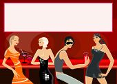 picture of debauchery  - vector image of people in bar - JPG