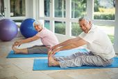 Senior couple performing stretching exercise on exercise mat at home poster