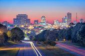 Columbia, South Carolina, USA skyline and highway. poster