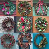 stock photo of christmas wreath  - Square montage of nine Christmas wreaths in different styles - JPG