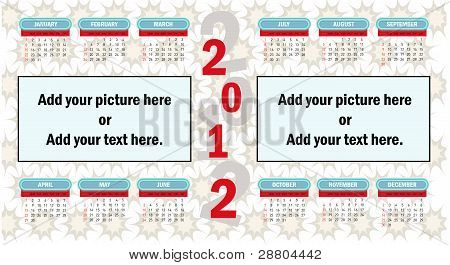 2012 vector kalender.