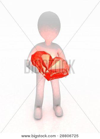 3d man holding a diamond heart