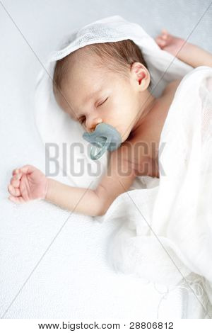 Newborn sleeping peacefully