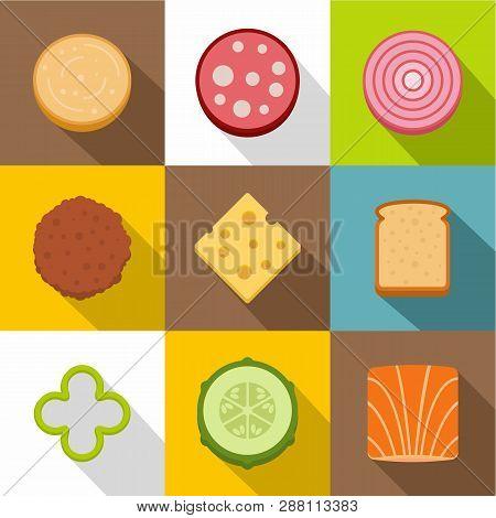 poster of Food Ingredients Icons Set. Flat Set Of 9 Food Ingredients Icons For Web With Long Shadow