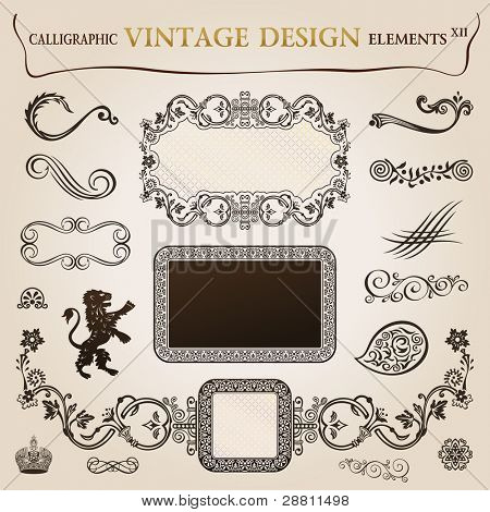 Calligraphic elements vintage heraldic. frame decor illustration. Vector copy search in my portfolio