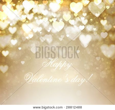 Golden shiny hearts bokeh light Valentine's day background