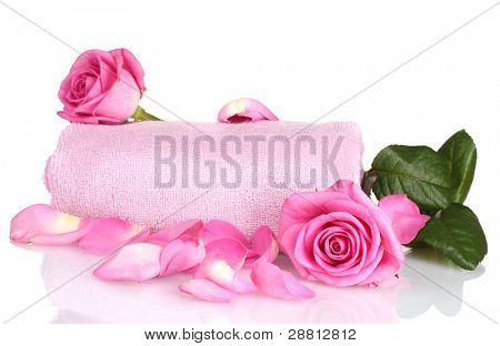 Pink towel with roses on white background