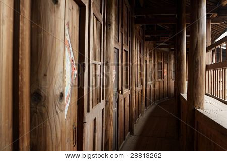 wood corridor in chinese style building