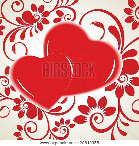 Vector illustration of two heart shapes in red color on red floral background for Valentines Day and other occasions.