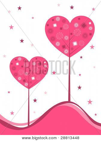 vector background with decorative heart shape tree in pink color with copy space and stars for Valentines Day and other occasions.
