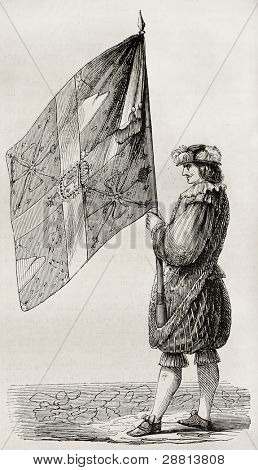 Cent-Suisses flag, old illustration (military company established by Charles VIII of France). Created by Brebant, published on Magasin Pittoresque, Paris, 1845
