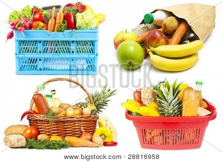 Collection of baskets and bag with food on white background