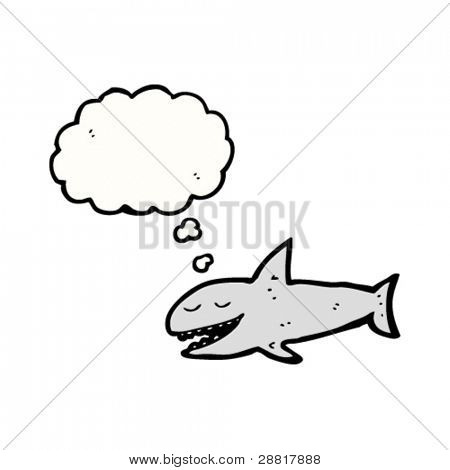 happy shark with thought bubble