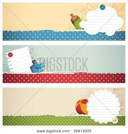 illustration of set of banner for kids with different element