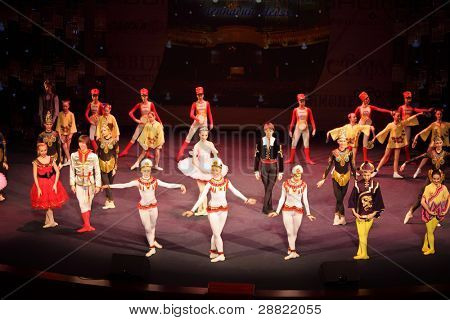 MOSCOW - MARCH 17: Dancers at concert of Gennady Ledyakh School of Classical Dance in theater Et Cetera, on March 17, 2011, Moscow, Russia. Concert held for winners in competition on Russian language.