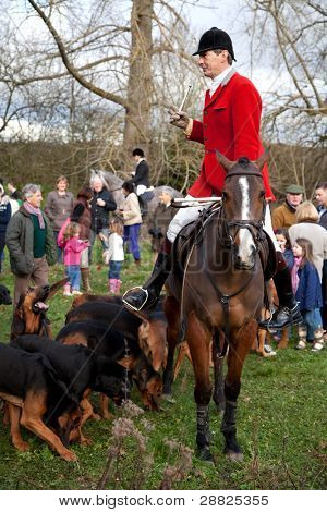 BERKSHIRE - DECEMBER 26: The Huntmaster straddles his horse at the Stanford Dingley Boxing Day Hunt on December 26, 2011 in Berkshire.