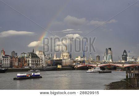 A rainbow over London, England, UK