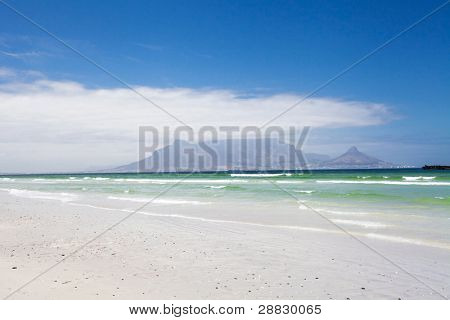 table mountain view from bloubergstrand beach, south africa