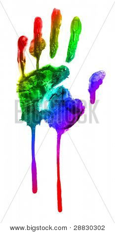 colorful print of a hand and fingers