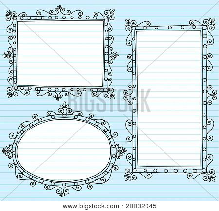 Inky Notebook Doodle Borders Frames with Swirls- Vector Illustration Design Elements on Lined Sketchbook Paper Background