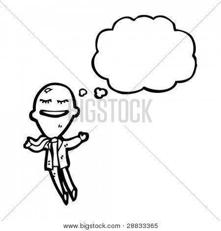 balloon head businessman floating away