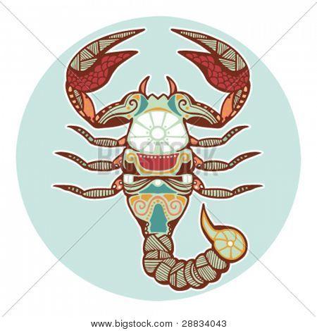 Постер, плакат: Знаки зодиака Скорпион окрашенная , холст на подрамнике