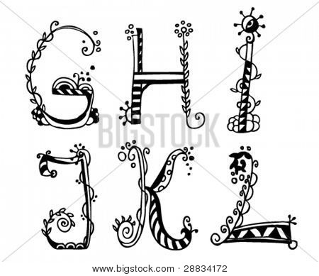 doodle alphabet g-l