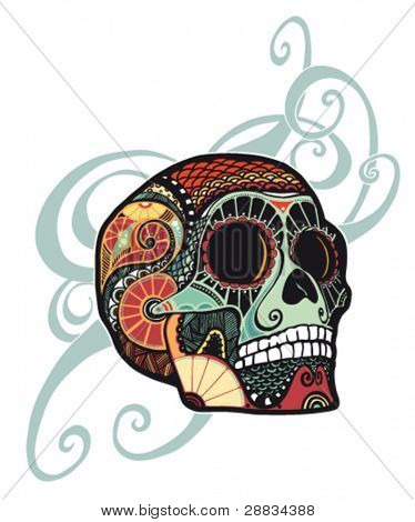 skull ornament (colored)