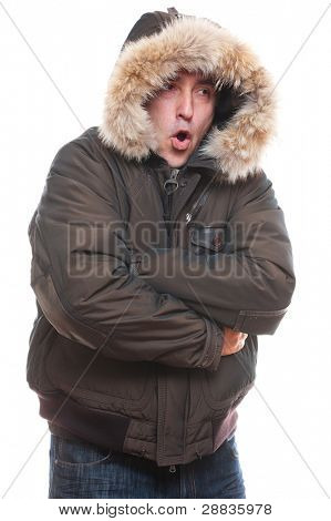 frozen man in jacket over isolated on white background